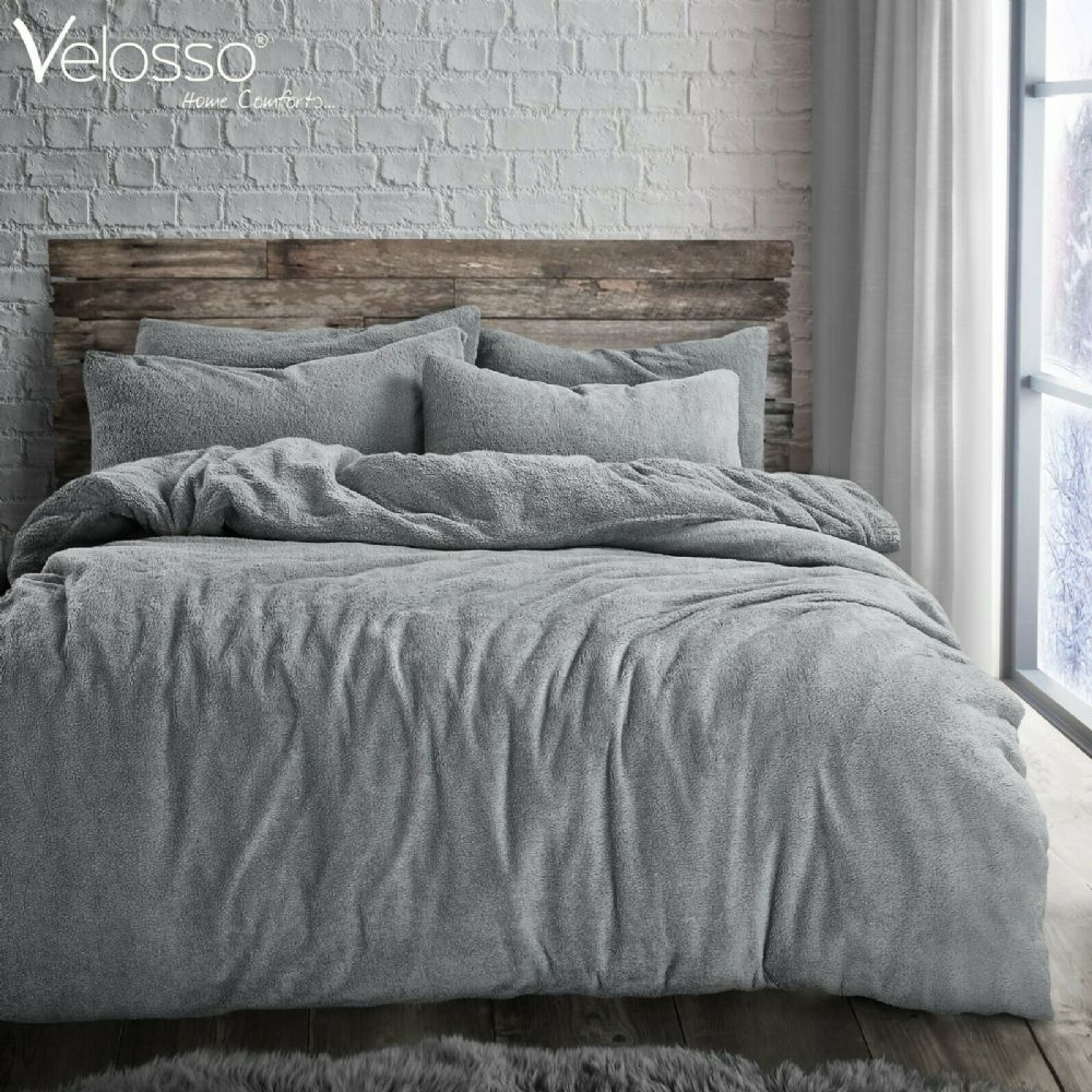 TEDDY BEAR FLEECE SOFT LUXURY DUVET COVER SET THERMAL WARM COSY BEDDING GREY